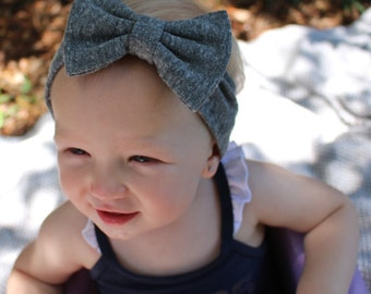 gray knit bow headband