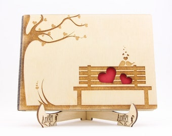 Guest Book Bench, Wedding Tree Guest book, Wood Guestbook, Rustic Guestbook, Guest Book Birds, Guestbook Hearts, Unique Wedding Guest Books