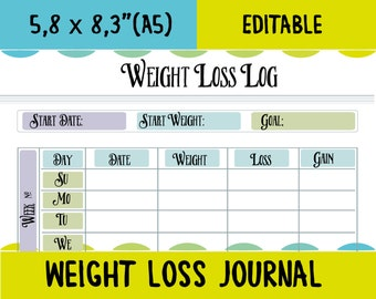 Fitness tracker weight loss tracker fitness printable planner instant