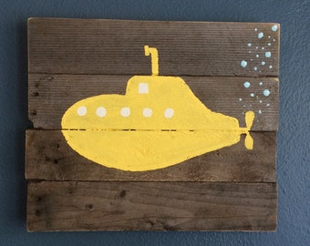 "Yellow Submarime. Painted on reclaimed wood. 16"" x 13 1/2"""