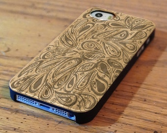 Genuine Wood Cell phone Case with Paisley Pattern Laser Engraving for iPhone 5/S, 6 and 6 plus IP-003