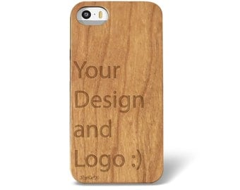 Laser Engraved Your Own Design on Genuine Wood Cell phone Case for iPhone 5/S, 6/S and 6 plus (no minimum order required)