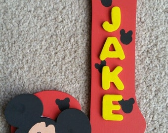 Handmade Mickey Mouse Themed 3D Character Personalised Wall / Door Plaque Custom Made