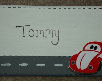 Handmade VW Beetle Car Themed Character Personalised Wall / Door Plaque Custom Made