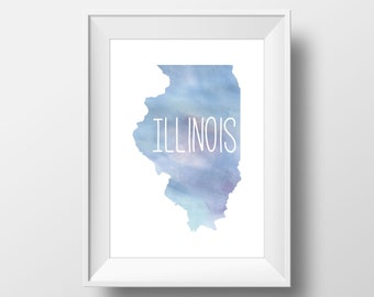 Illinois State Blue Watercolor Printable Art, Illinois Print, Illinois Art, Modern Art,