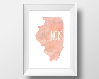 Illinois State Pink Watercolor Printable Art, Illinois Print, Illinois Art, Modern Art,