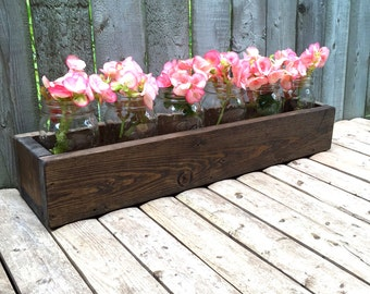 "Rustic Reclaimed Wood 22.5"" inch Box Centerpiece - Hand Painted Distressed Mason Jars Upcycled Wooden Wedding Planter Riser"