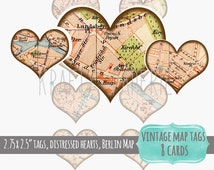 DIGITAL Heart Tags - Printable Heart Tags - Vintage Map Tag - Distressed Vintage Tags - Vintage Berlin Map - Paper Crafts, Scrapbook, ATC