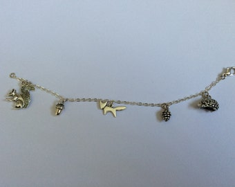 Silver Plated Woodland-themed Charm Bracelet