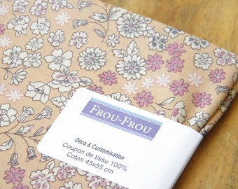 4 - FROU-FROU - coupon 45 x 55 light cotton - Collection Fleuri - flesh fabric