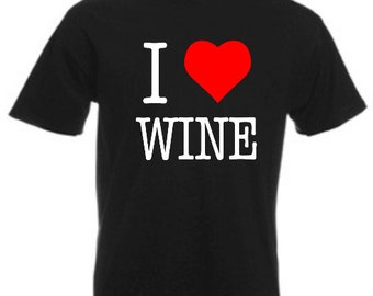 I Love Wine - Mens/Adults Tshirt - Novelty/Funny/Gift/Present/Party/Secret Santa/Fancy Dress