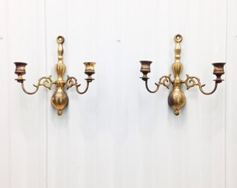 Pair of Brass Wall Hanging Candle Holders / Sconces Made in England