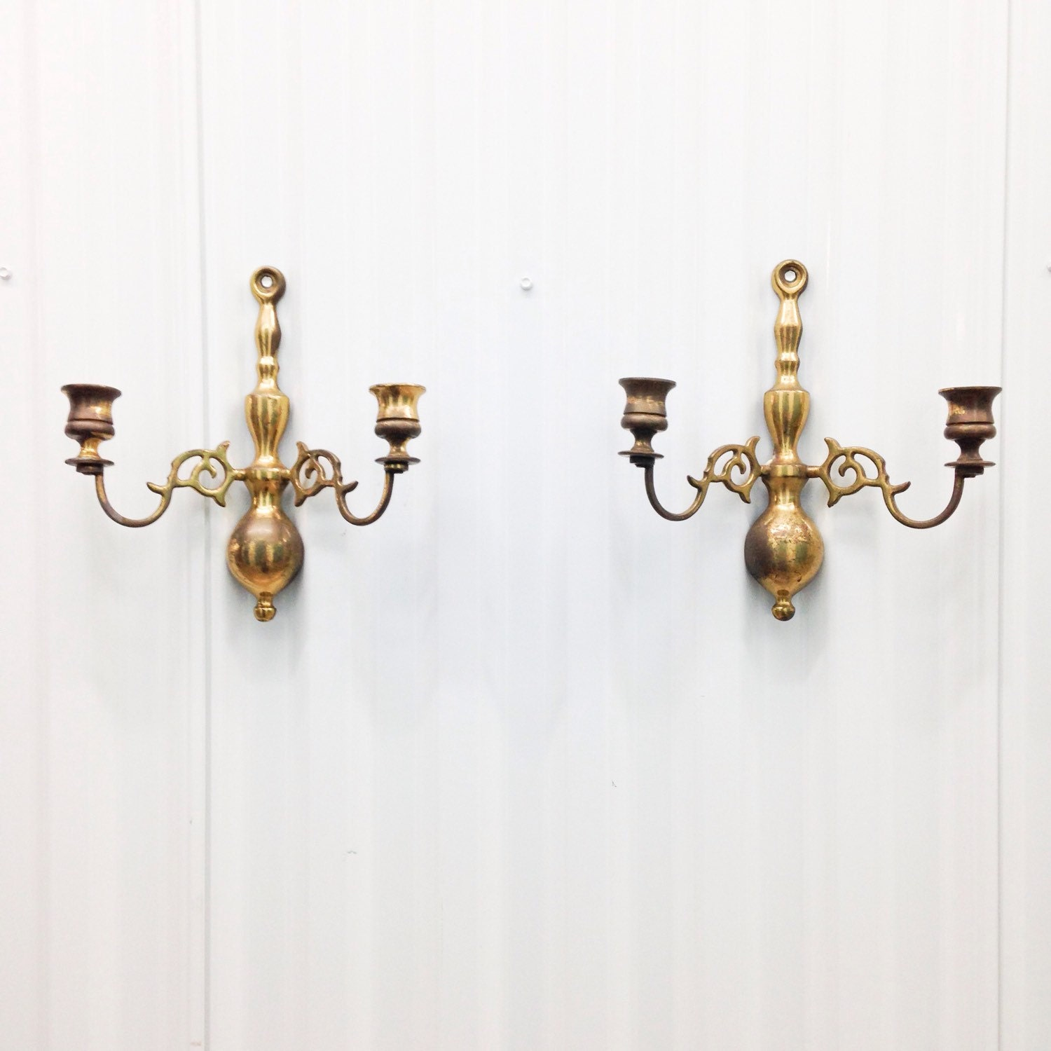 Pair of Brass Wall Hanging Candle Holders / Sconces Made in
