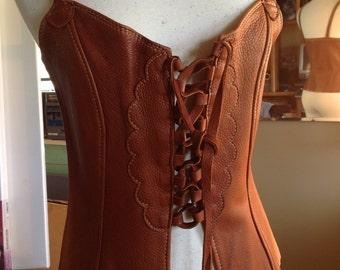 Burnt Cork deerskin Nuisette  with adjustable shoulder straps , nickel buckles