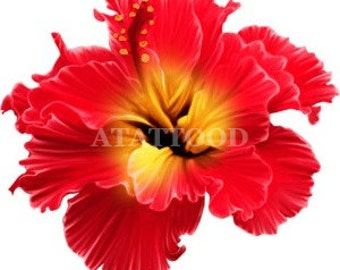 Large Hibiscus flower Temporary Tattoo