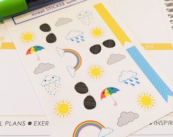22 Weather Planner Stickers- Cool Weather Reminder Stickers- perfect in your Erin Condren planner, wall calendar or scrapbook