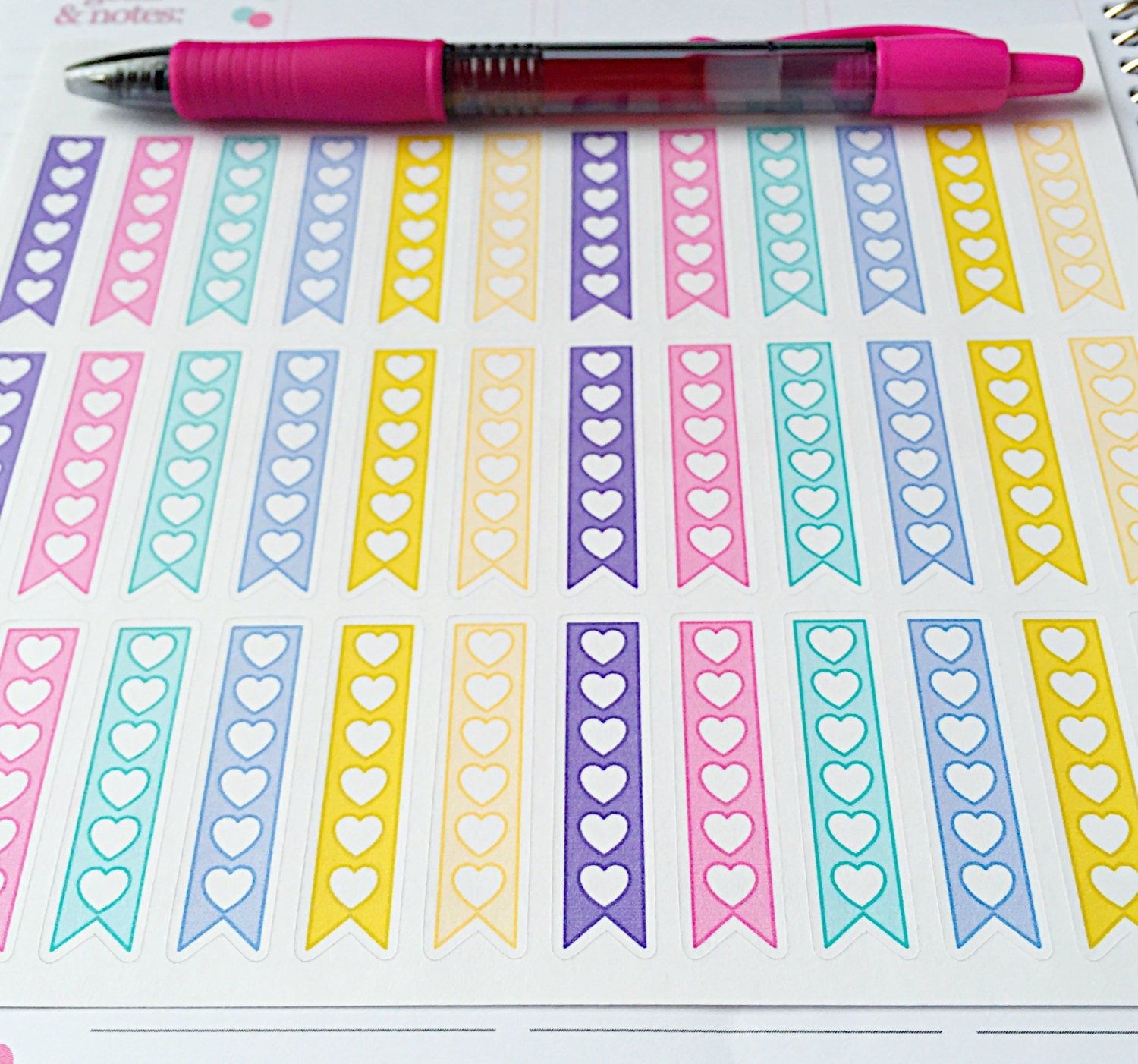 36 flag checklist planner stickers pastel colored flag zoom