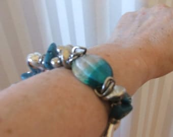 VTG BRACELET Turquoise Blue Beads and Hearts, Medium/Large Size