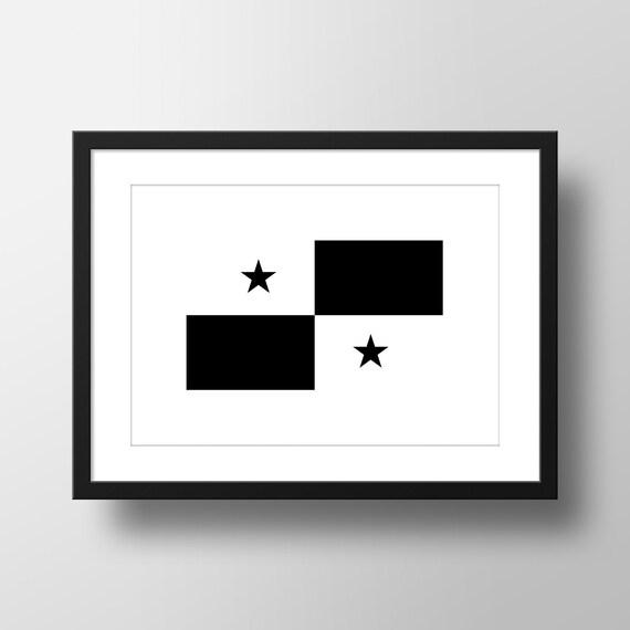 panama flag monochrome print poster minimalist black. Black Bedroom Furniture Sets. Home Design Ideas