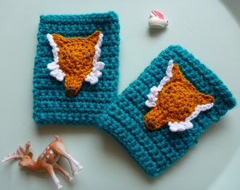 Handmade Child's Crochet Fingerless Gloves - Custom Made to Order - Fox