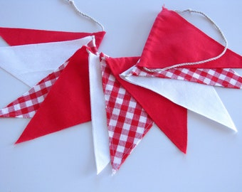 Fabric Flag Banner / Pennant / Bunting / Checked / Red / White