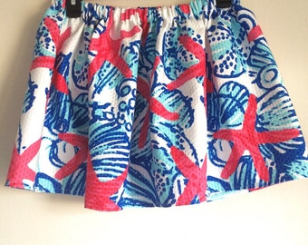 Lilly Pulitzer Elastic-Waist Skirt She Sells Sea Shells