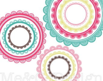 Circle Frames Clipart, Fun Cute Clipart, Scrapbooking Design Element Instant Download, Personal and Commercial Use Clipart, Digital Clip Art