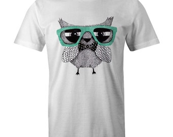 Vintage OWL Print T-shirt Classic Swag Hipster Celtic
