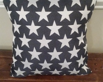 Navy and White Star Pillow Cover - Indoor / Outdoor