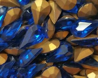Vintage Rhinestones Capri Blue Glass Teardrop Jewel 13x8 mm, 13x7.8 mm (6)