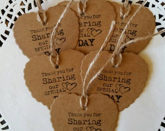6 WEDDING FAVOUR scalloped HEART craft gift tags!handstamped with natural string