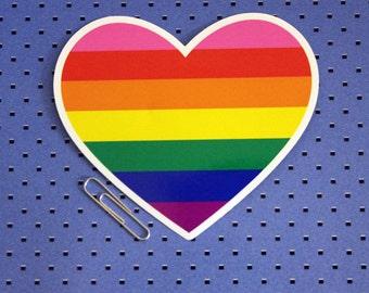 Gay Pride Rainbow Flag Heart Sticker