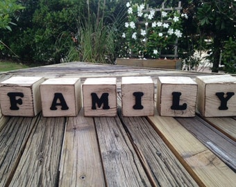 Rustic wood blocks- FAMILY