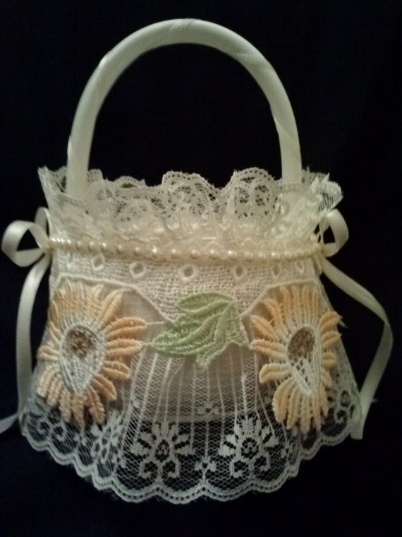 How To Make A Lace Flower Girl Basket : Sunflower lace flower girl basket