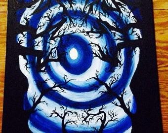 Tim Burton Inspired Tree Painting / Tree Painting / Original Painting / Art / Painting / unique art