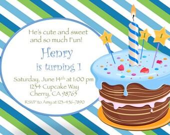 1st Birthday Invitation, boy 1st birthday party invitation, boy birthday party invitation, Blue birthday invitation