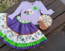 Bird cage print, girl's skirt and top, size 2-3, unique, vintage, hand sewn, purple, long sleeve, bow, hearts, beautiful design, birthday