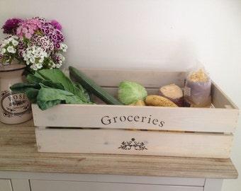 Groceries Apple Crate, bushel box, fruit crate, groceries box, wooden crate, apple crate