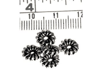 SALE! 20 pcs Hill Tribe Silver Wire Daisy Beads, 6.5mm diameter, Fair Trade, fine silver, jewellery making, silver beads, UK seller