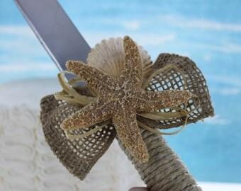 Starfish and Burlap Cake Knife / Beach wedding