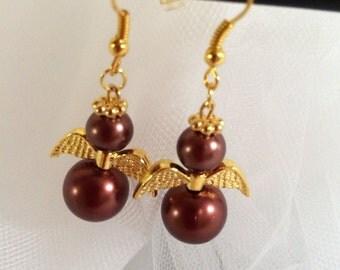 Pearl Angel Earrings