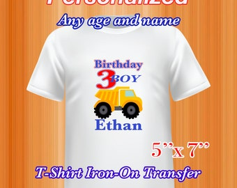 Dump Truck Construction, Iron on Transfer Birthday, Birthday Shirt, Personalized, PDF