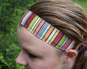 Non-slip Multi-colored Stripped Headband with velveteen backing