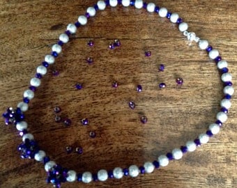 Purple and shimmer silver beaded necklace