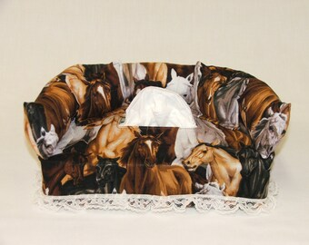 Horses fabric tissue box cover.