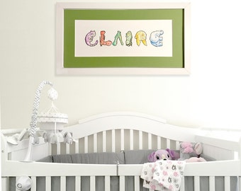 Hand-Drawn Personalized Baby Nursery Name Signs with Animal Alphabet Letters