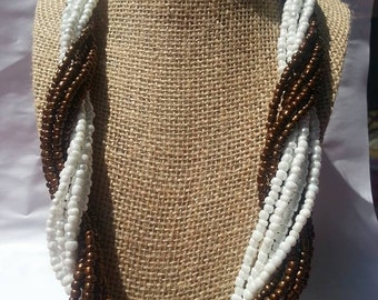 Multi strand seed bead brown and white necklace