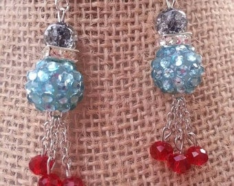 Teal and red dangle earrings