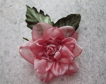 ON SALE: Handmade Rose Blossom, Rose Hair Pin, Handmade Satin Rose, Wedding Flower, Organza Rose