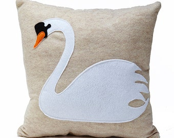 Swan song cream felt pillow